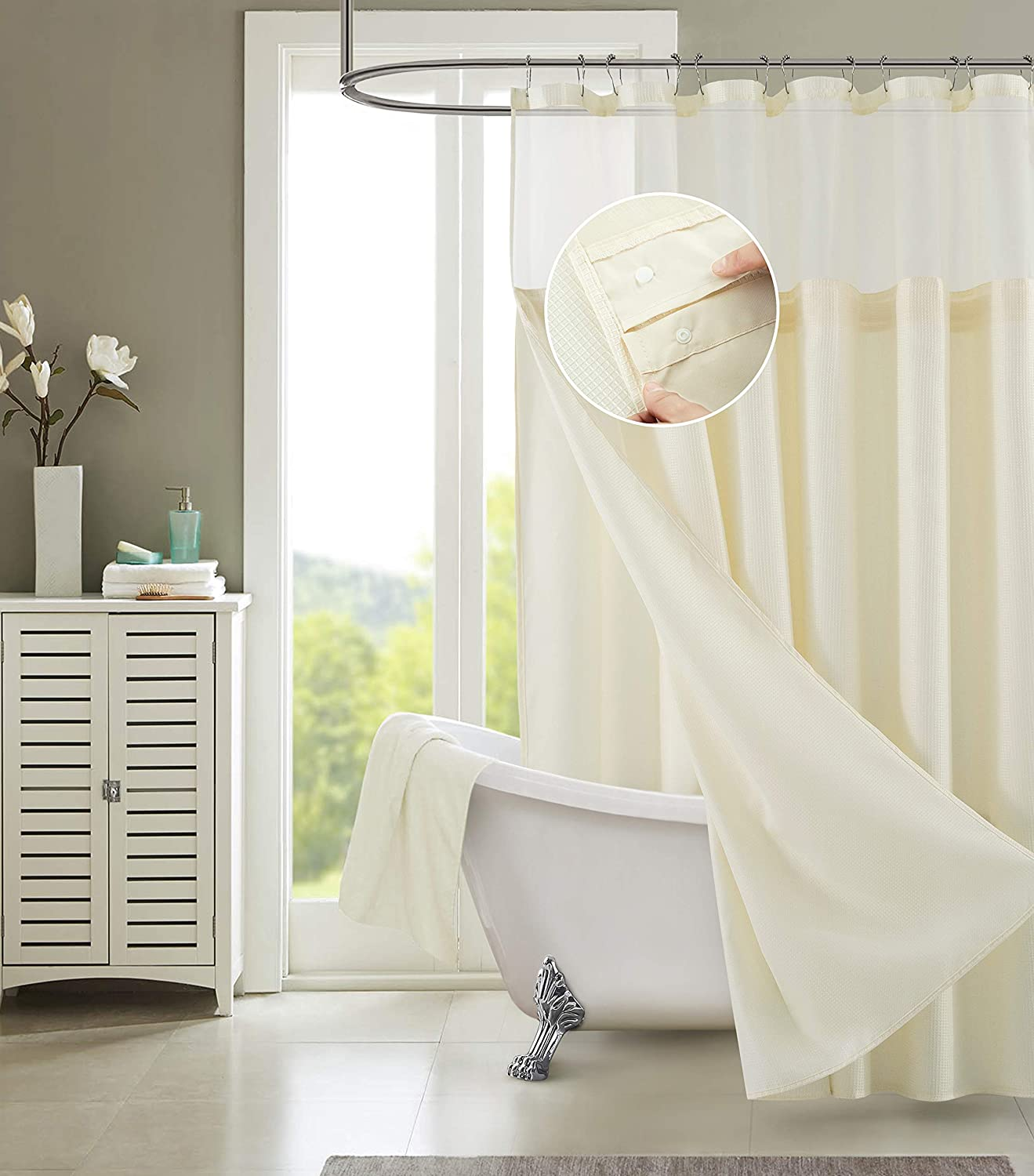 Dainty Home CSCDLIV Hotel Shower Curtain, Ivory, 72 x 72 Inch (Pack of 1) - Color May Vary