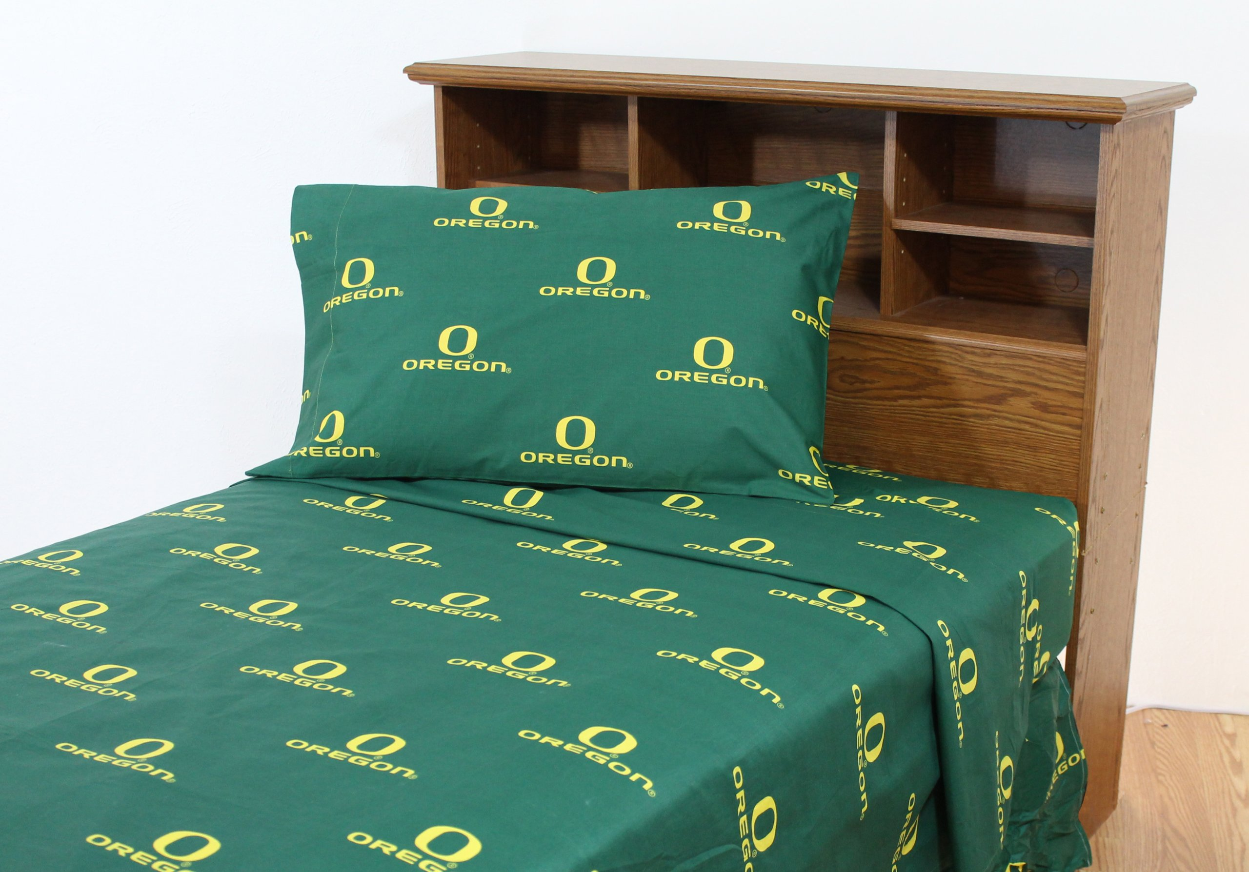 College Covers Oregon Ducks Printed Sheet Set - Queen - Solid