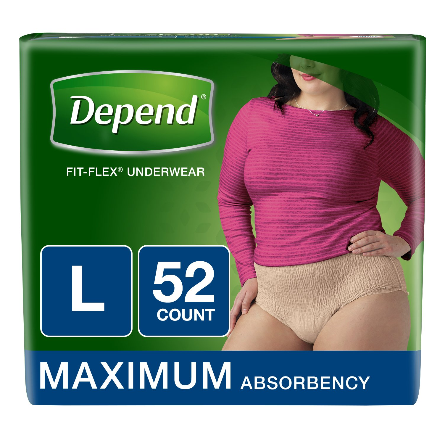 Depend FIT-FLEX Incontinence Underwear for Women, Maximum Absorbency, L, Tan, 52 Count (Packaging may vary)