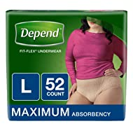 Depend FIT-FLEX Incontinence Underwear for Women, Maximum Absorbency, L, Tan (Packaging may vary)