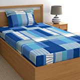 Dreamscape 144 TC Printed Single Bedsheet Set With 1 Pillow Cover Set (Single,Blue)