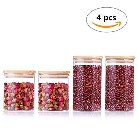 Amazoncom UOON Food Storage Container Airtight Glass Storage Jars