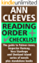 Ann Cleeves Reading Order and Checklist: The guide to Palmer-Jones, Inspector Ramsay, Vera Stanhope and Shetland Island series of novels plus standalone books