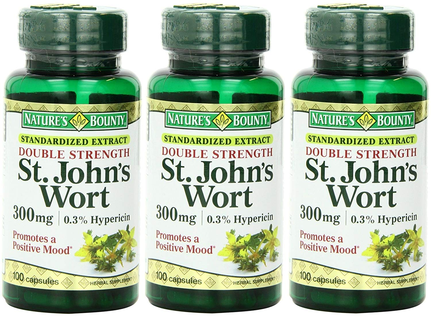Nature s Bounty St. John s Wort, Double Strength, 300mg, 300 Capsules 3 X 100 Count Bottles