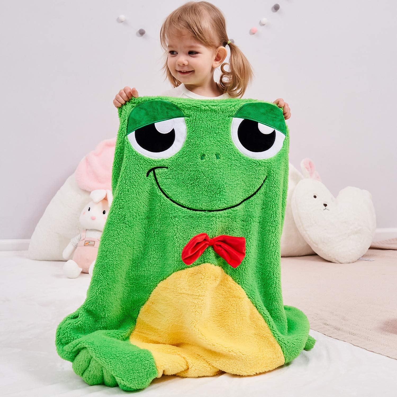 Frog Pattern Sherpa Blanket 3D Animal Print Fleece Throw Blanket for Kids Boys Girls Rainforest Animal Plush Blanket Natural Green Fuzzy Blanket for Sofa Bed Couch,Throw 50x60 Inch