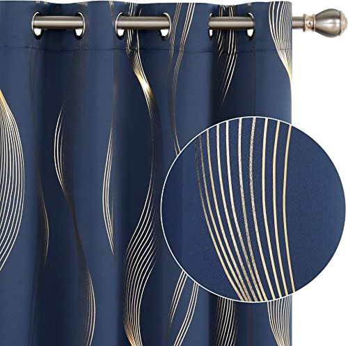 Deconovo Navy Blackout Curtains Foil Golden Printed Wave Pattern Room Darkening Thermal Insulated Grommet Curtain Panels
