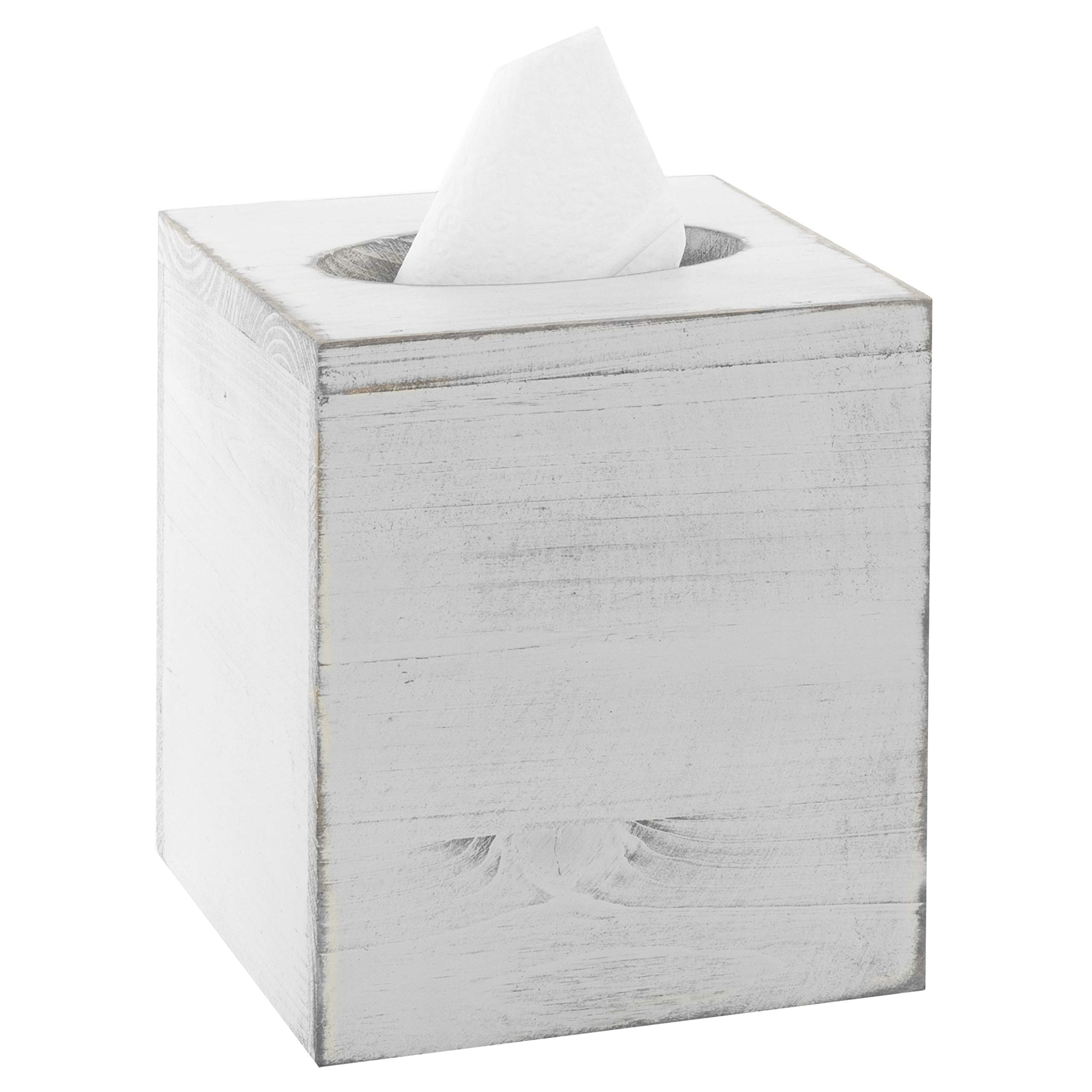 MyGift Vintage White Wood Square Tissue Box Cover by MyGift