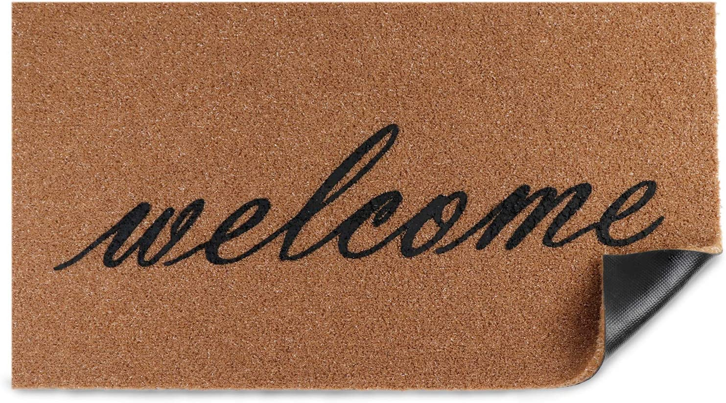 OurWarm Welcome Mats for Front Door Outdoor, Door Mats for Home Entrance Floor mat Coir Doormat for Porch Decor with Heavy-Duty PVC Backing, 30 x 17Inch Farmhouse Brown Welcome Mat Rug with Black Font