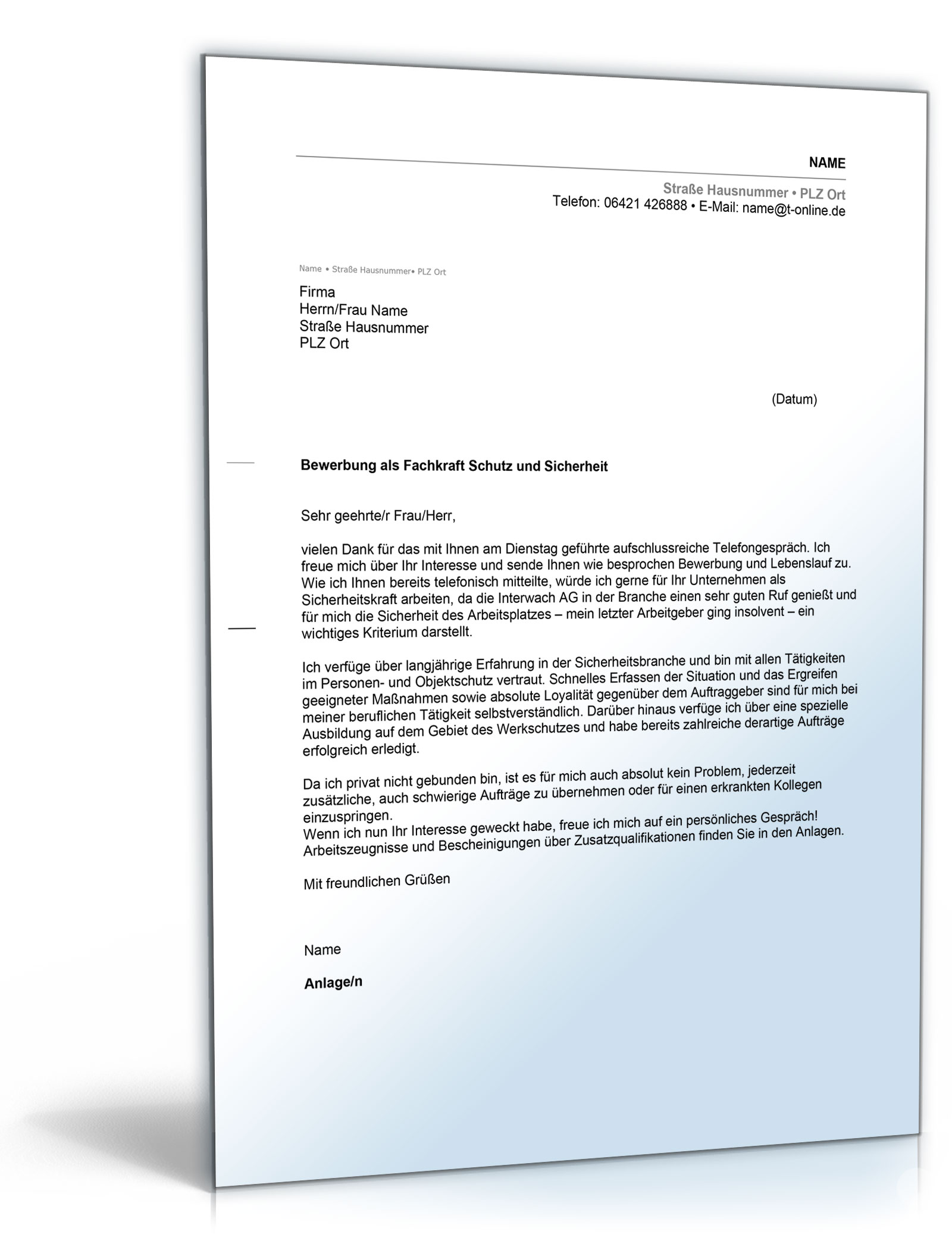 Anschreiben Bewerbung Sicherheitsdienst [Word Dokument]: Amazon.de