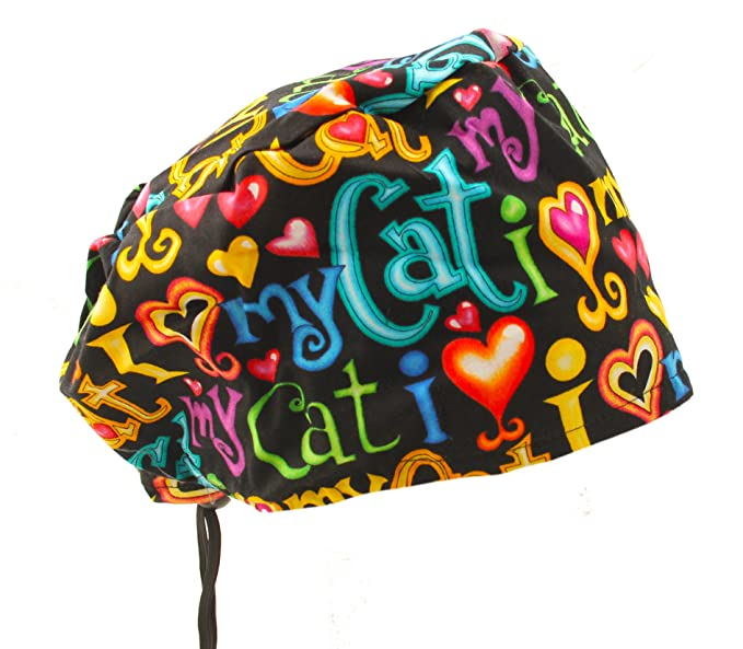 Amazon.com  Bouffant I Love My CAT Scrub Cap Hat with Cord Lock ... 2a5ed8c6481