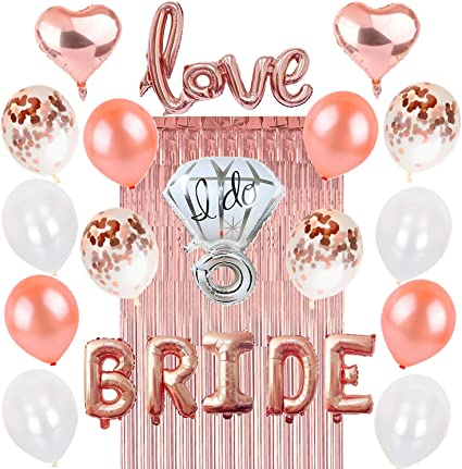 97b13acb3b8 Rose Gold Bachelorette Party Decorations  Bridal Shower Hen Night Kit BRIDE  Foil Balloon