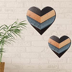 Jetec Heart Shaped Wood Sign Heart-Shaped Wooden Wall Sign Wood Heart Wall Decor Wooden Hanging Heart Sign Rustic Wooden Heart Plaque for Home Farmhouse Living Room Bedroom, 11.8 Inch (Chic Color)