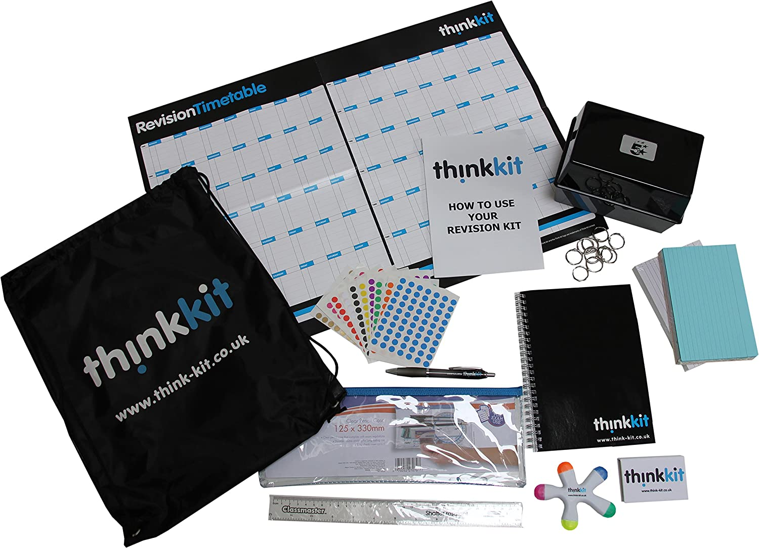 Think Kit Revision & Study Pack: stationery supplies and planning tools for  GCSE, A-level & University Students, including revision cards, wall
