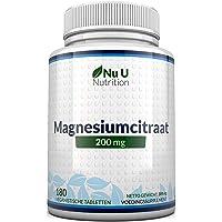 Magnesiumcitraat 200 mg tabletten – Magnesiumtabletten, geen Capsules - 200 mg Elementaire Magnesium per Portie - 180…