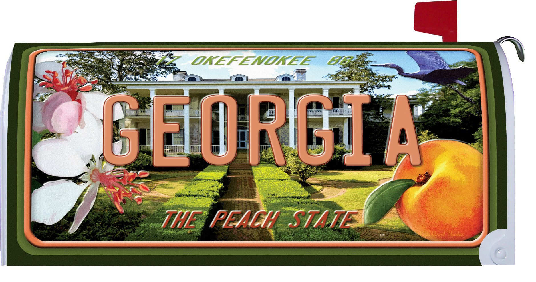 Georgia - Great Escapes - Mailbox Makover Cover - Vinyl witn Magnetic Strips for Steel Standard Rural Mailbox - Copyright, Licensed and Trademarked by Custom Decor Inc.