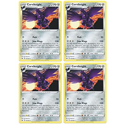 Pokemon Card - Corviknight - Sword and Shield Base - x4 Card Lot Playset - 135/202 Rare: Toys & Games
