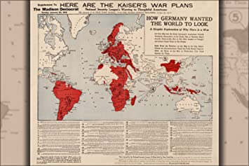 Amazon 24x36 poster wwi world map kaisers war plans 1917 24x36 poster wwi world map kaisers war plans 1917 antique reprint gumiabroncs Choice Image