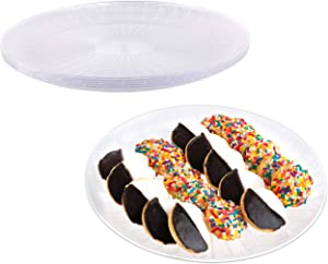 """Impressive Creations Lightly Frosted Clear Plastic Round Serving Tray Plate (Pack of 25) 12""""– Heavyweight Disposable Appetizer Tray – Durable and Reusable Party Supply Tray – Perfect Dinnerware (5Pk)"""