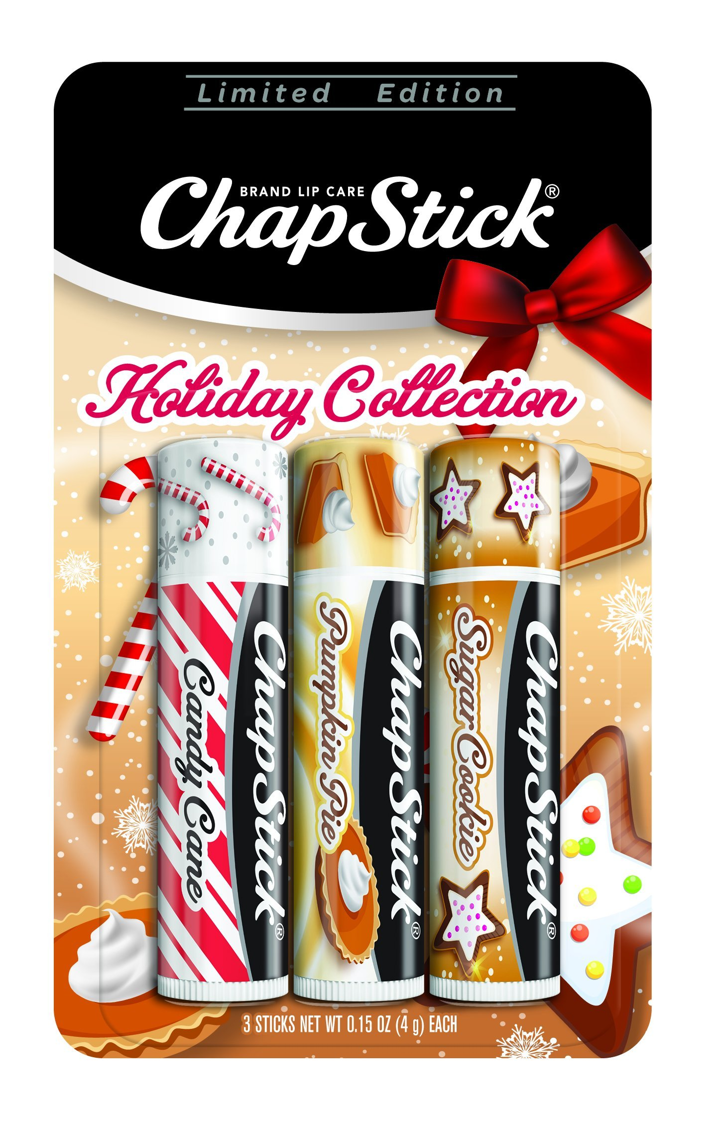 ChapStick Holiday Limited Edition Seasonal Flavored Lip Balm Tube, 0.15 Ounce Each (Candy Cane, Pumpkin Pie & Sugar Cookie Flavors, 1 Blister Pack of 3 Sticks)