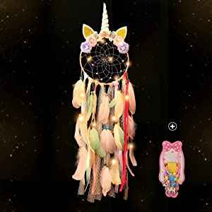 Holmgren Unicorn Dream Catcher for Girls - Colorful Feather and Handmade Flowers Dream Catchers Led Lights for Bedroom, Wall Hanging, Sweet Baby Nursery Bedroom Decoration(Pink)