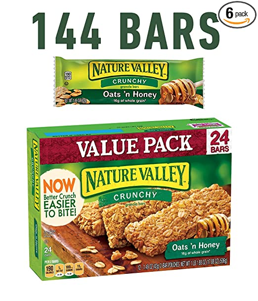 Nature Valley Granola Bars, Crunchy, Oats and Honey, 12 Pouches - 1.5 oz, 2-Bars Per Pouch (Pack of 6)