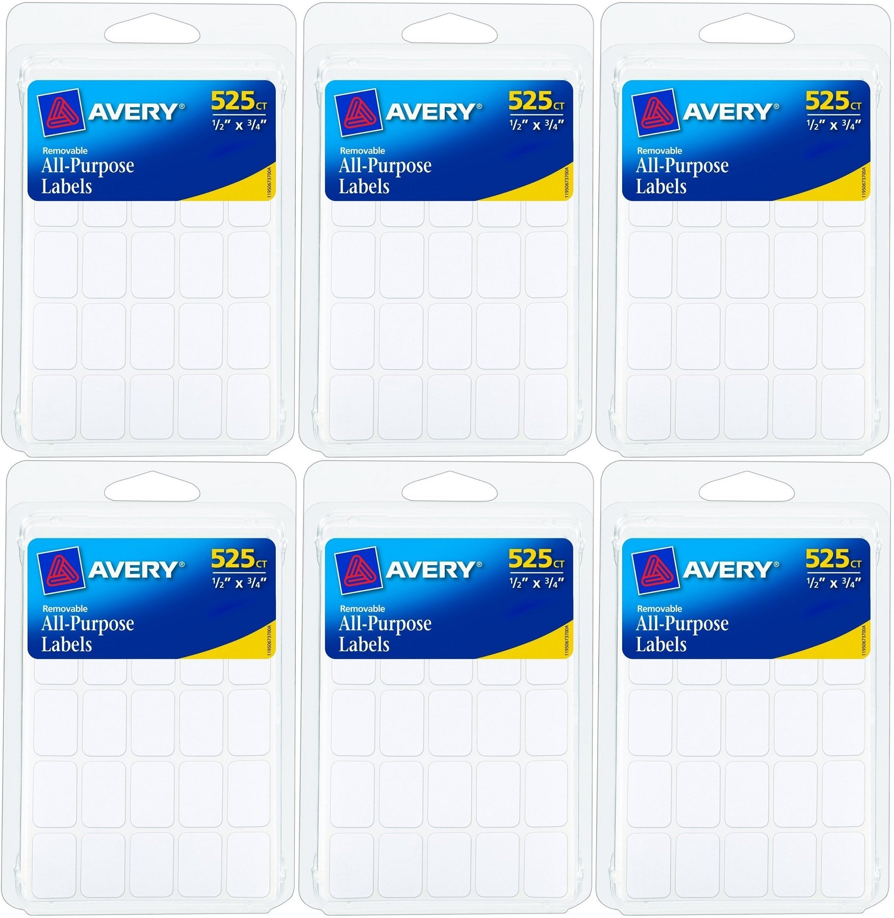 Avery Removable Rectangular Labels (6737) 0.5 X 0.75 Inches, White, 525 Count (Pack of 6) Total 3150 Labels