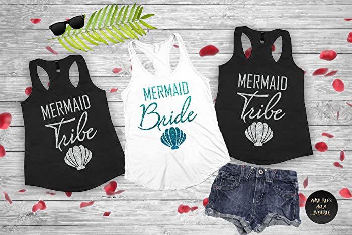 a1d89e89feff Amazon.com: Bachelorette shirt,bridesmaid shirt,Bachelorette shirts Mermaid  Bride, Mermaid Squad Fitted Racerback Tank Top,Mermaid Bachelorette(D23):  ...