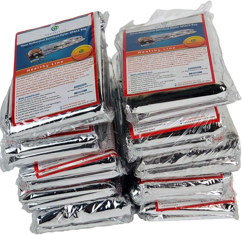 HealthyLine Emergency Blanket Survival Insulating Mylar Thermal Heat 10 PACK