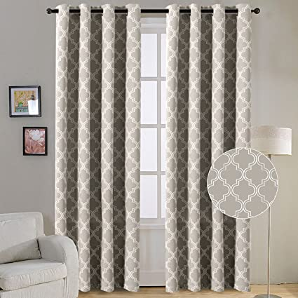 Flamingo P Room Darkening Moroccan Tile Quatrefoil Blackout Top Grommet Unlined Thermal Insulated Window Curtains
