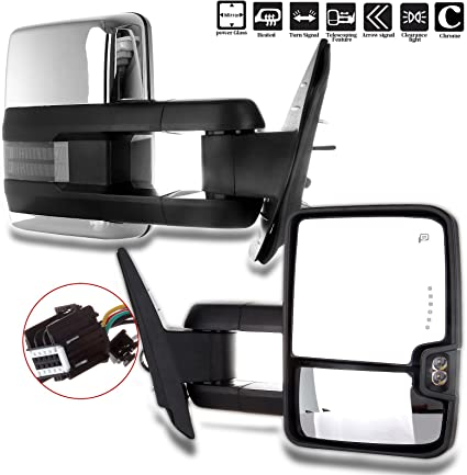 CHROME POWER TOWING MIRRORS+HEATED+AMBER SIGNAL FOR 07-14 CHEVY SILVERADO//SIERRA