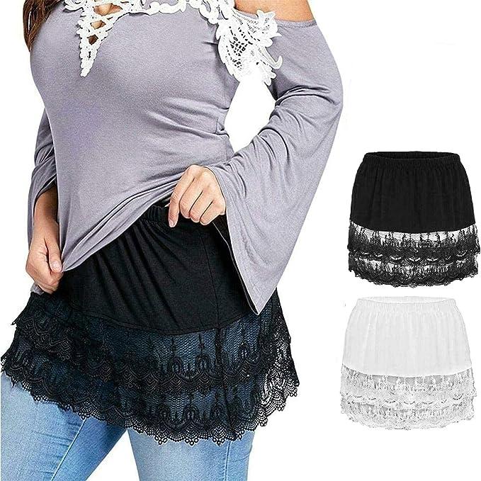 XI-BO Women Shirt Extender Elastic Waist Lace Trim Layered Fake Top Lower Sweep Plus Size Half Slips Mini Skirt Undershirt