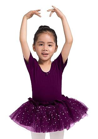 fd9327750 Dancina Girls Skirted Leotard Sparkle Short Sleeve Tutu Ballet Dress Dark  Purple 2-3T