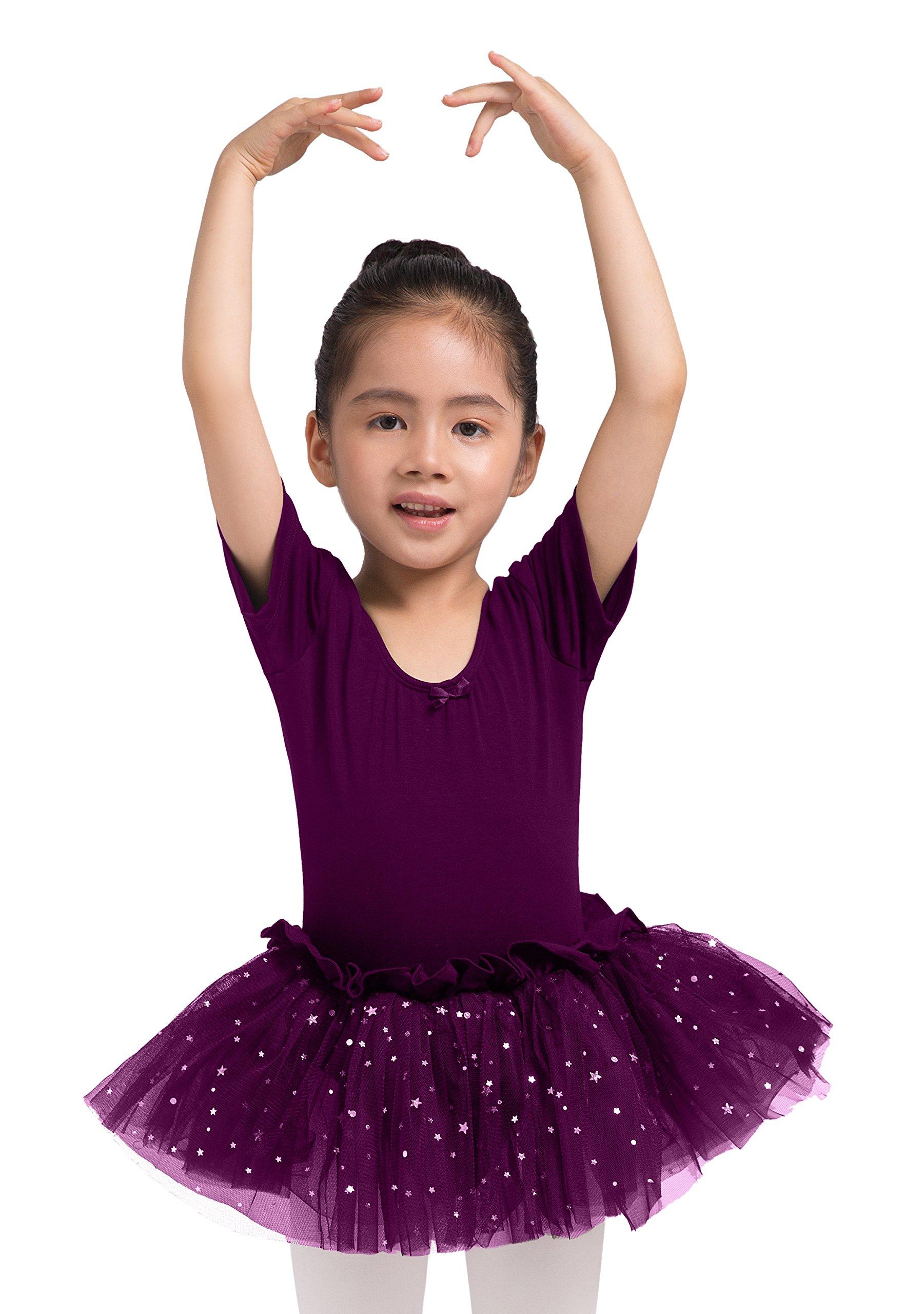Dancina Girls Skirted Leotard Sparkle Short Sleeve Tutu Ballet Dress 5 Dark Purple
