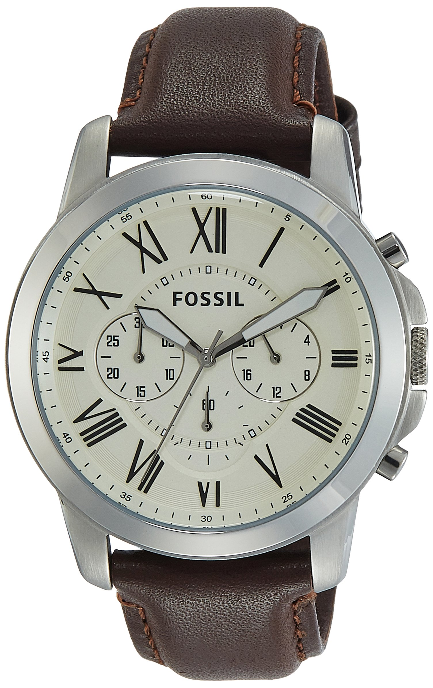 Fossil Men's Grant Quartz Stainless Steel and Leather ...