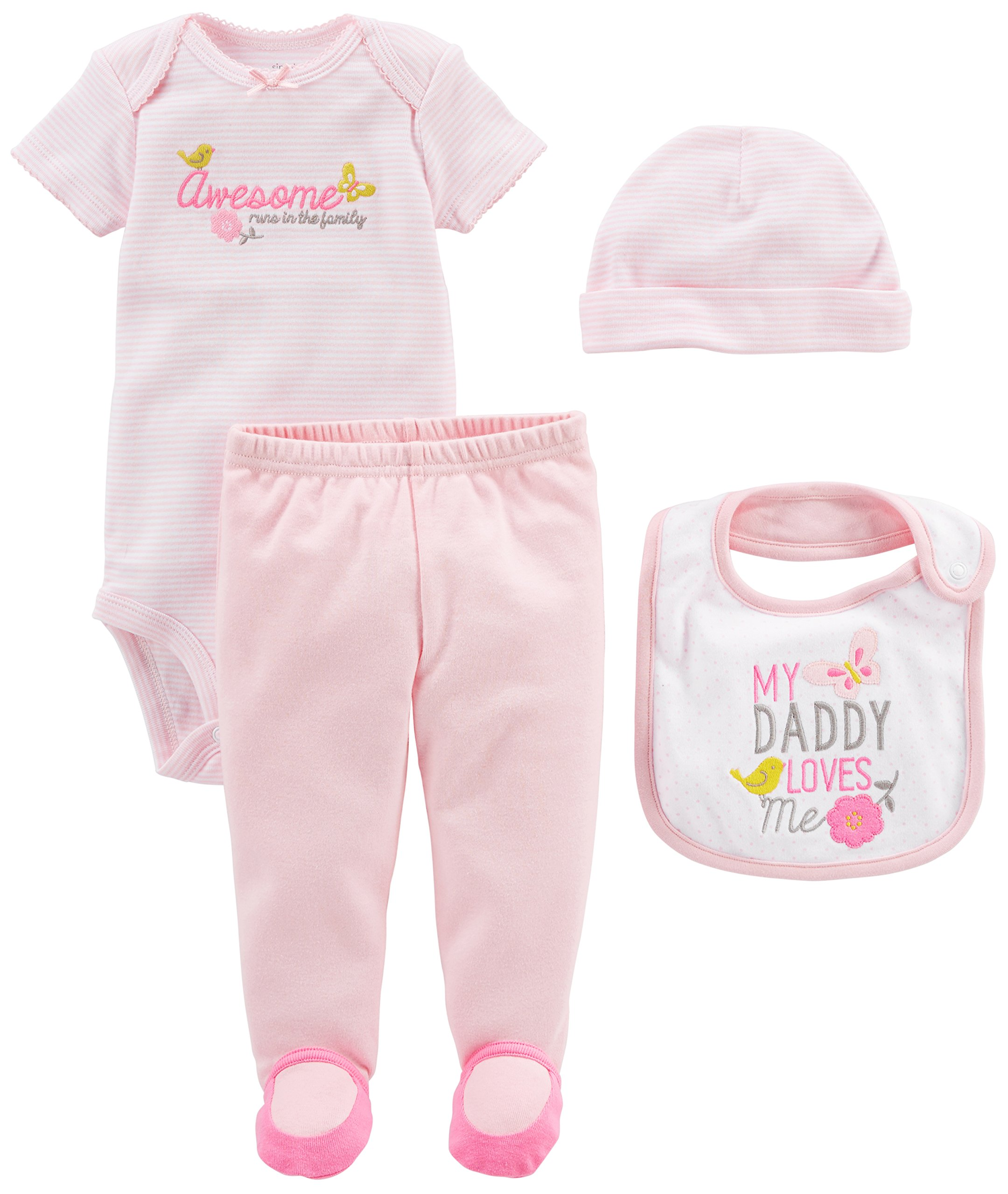 Simple Joys by Carter's Baby Girls' 4-Piece Bodysuit, Pant, Bib and Cap Set, Pink Daddy Loves Me, 6-9 Months