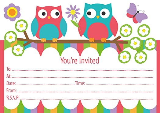 Party invitation cards colourful owl design packs of 16 with party invitation cards colourful owl design packs of 16 with envelopes stopboris Images