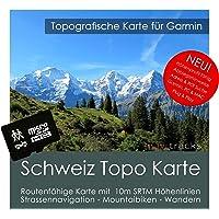 Suisse Garmin Carte Topo 4GB MicroSD. Carte Topographique GPS Carte de loisirs pour les randonnées Vélo Randonnée Trekking Geocaching & Outdoor. GPS, PC et Mac