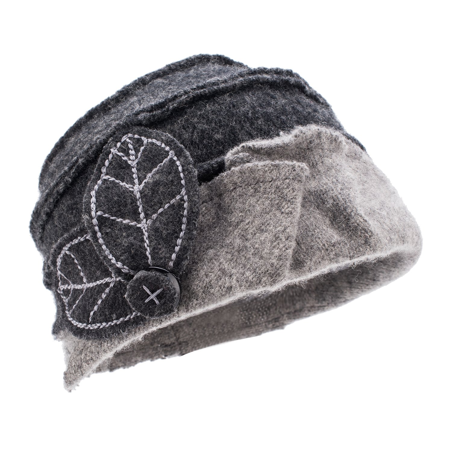 Lawliet Two-Tone Womens Ladies Winter 1920s 100% Wool Leaf Bucket Beret Cap Hat A375 (Dark Gray Top Light Gray Trim)
