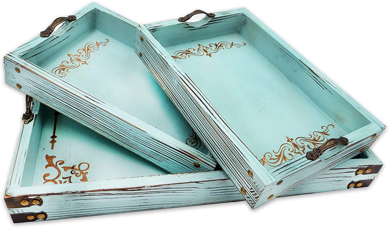 Modern 5th Vintage Aqua Blue Ottoman Wooden Serving Trays with Handles Set of 3 Decorative Tray, Coastal Decor, Pattern Designed