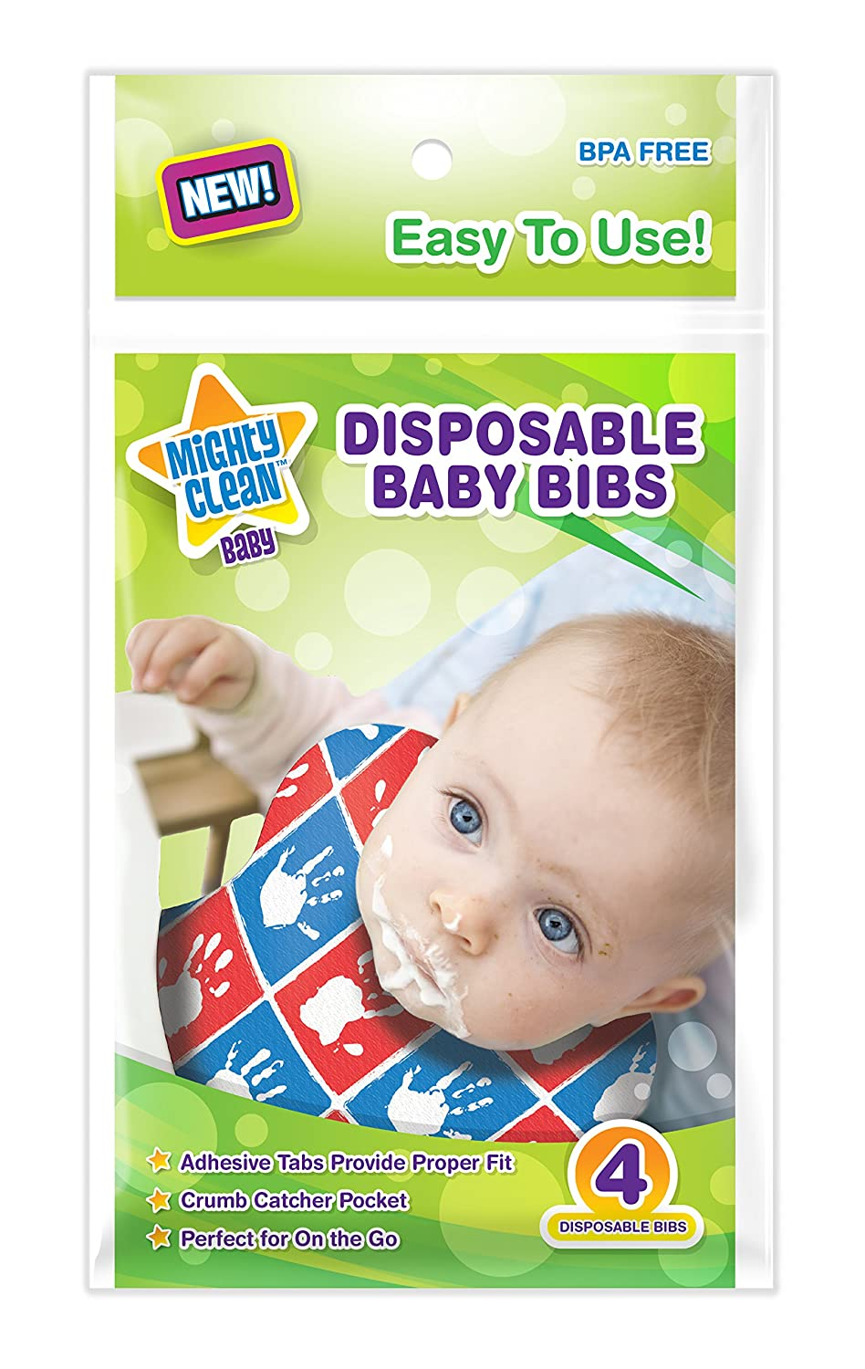 Mighty Clean Baby Disposable Baby Bibs 24 Count (4 bibs per package) Power Forward Ventures MCB-BB24