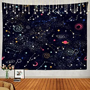 Shrahala Space Tapestry, Space Pattern Science Stars in Galaxy Wall Hanging Large Tapestry Psychedelic Tapestry Decorations Bedroom Living Room Dorm(39.4 x 59.1 Inches, Blue Black Planet)