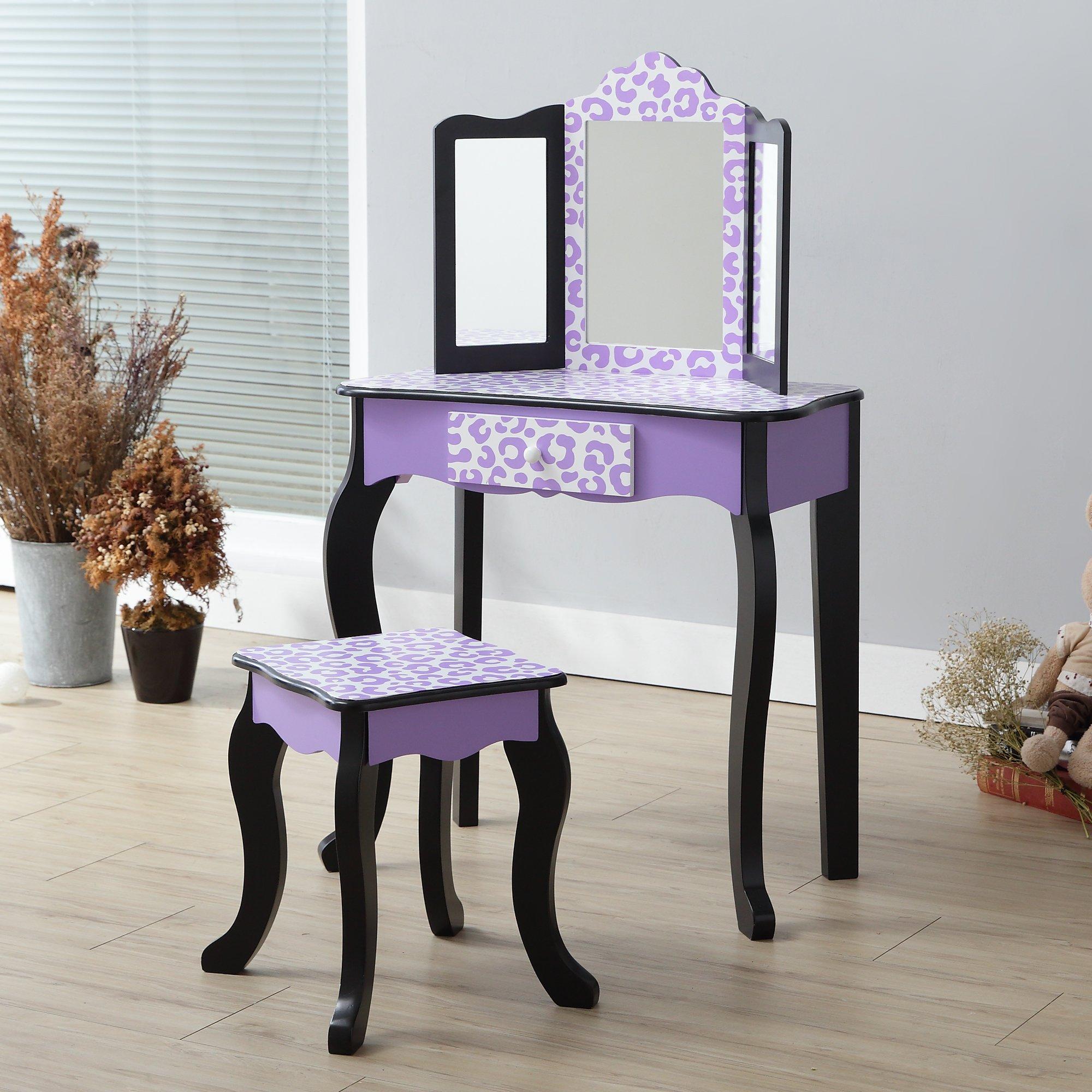 Teamson Kids Gisele Vanity Table and Stool Set, Purple / Leopard, T: 23.50x11.50x38.50 Small: 10.75x10.75x14.50