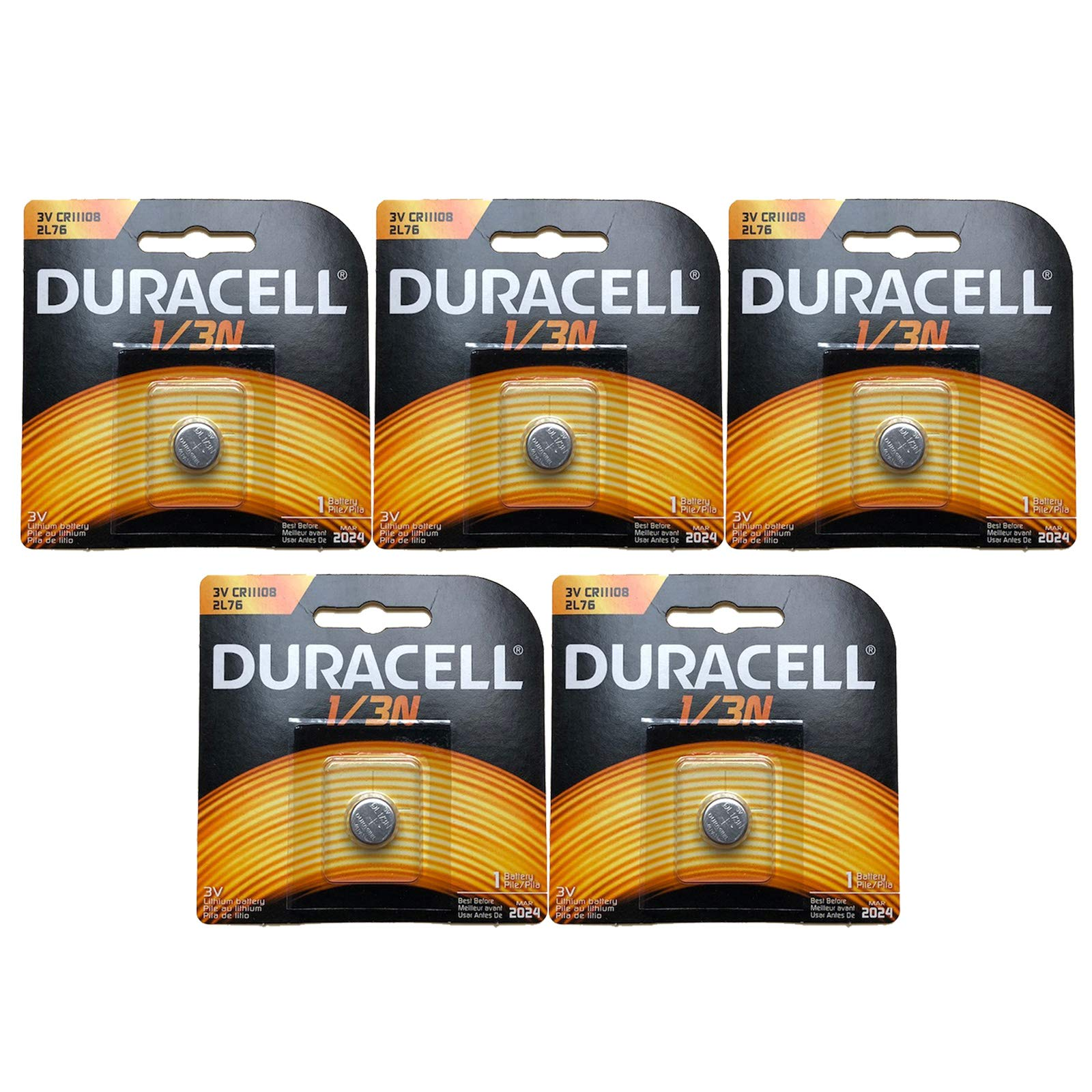 5x Duracell Photo DL CR1/3N 2L76 3V Lithium Battery Replaces Duracell DL-1/3N, 3N, Ray-O-Vac 867, 2L76, Energizer 2L76BP, 2L76-BP, CR1108, IEC CR11108, CR1-3N, DL1-3N, Comp 15, Duracell DL1/3N, NL1/3N by Exell Battery