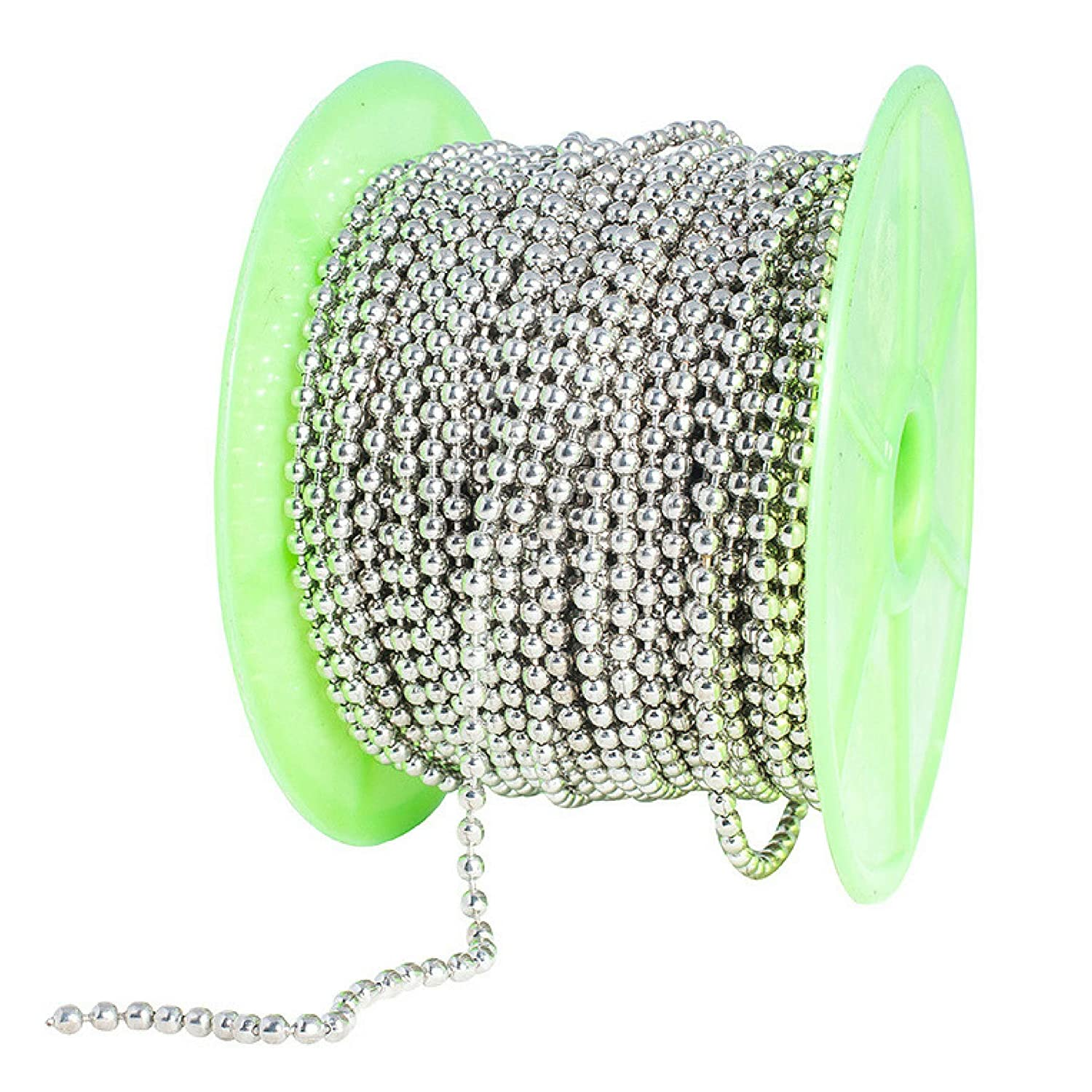 Special100% Ball Chain Spool #6 Nickel Plated Steel Bead Chain 3.2 Diameter 100 Feet (33 Yards) Included 30 Pc Matching connectors