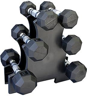 Ader Rubber Dumbbells 5, 8,12lb Set (50lb) w/ Rack