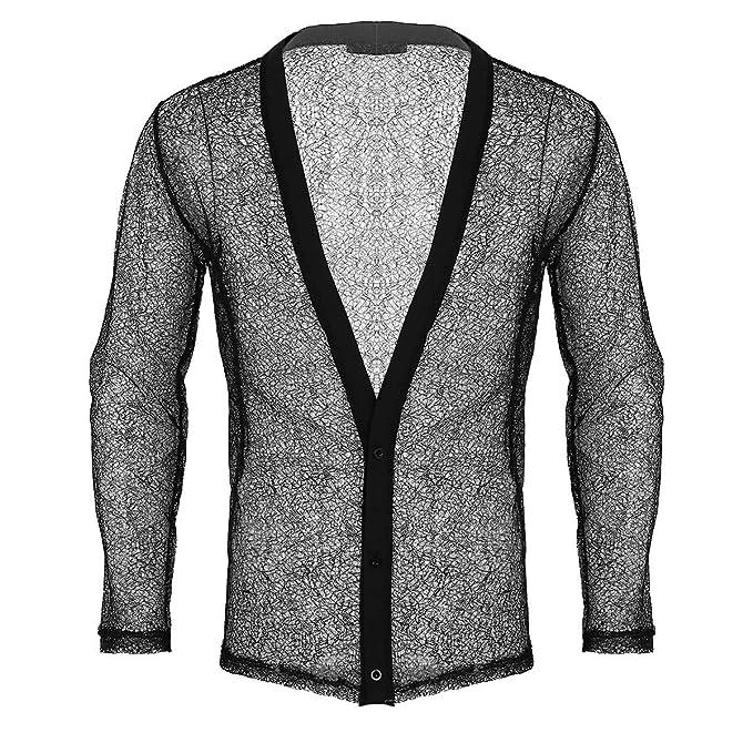 iiniim Herren Langarm Shirt Transparent Mesh Shirt Tiefer V-Ausschnitt  Männer Hemd Unterhemd Tops Party Clubwear M-XXL  Amazon.de  Bekleidung 2cf774778d