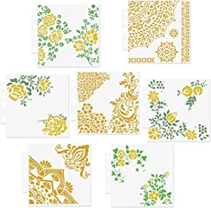 CODOHI 7 Packs Mixed Media Quarter Mandala Stencils Set - Reusable Floral Mylar Template for Wood Signs Pillows Wall Scrapbook Card Making DIY Craft Stencil - 5.1x5.5""