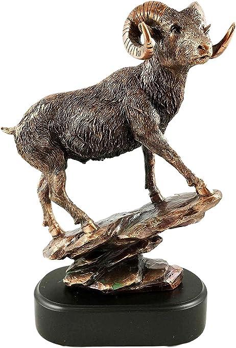 Bighorn Sheep Sculpture Signed by Artist Vintage Climbing Ram Statue
