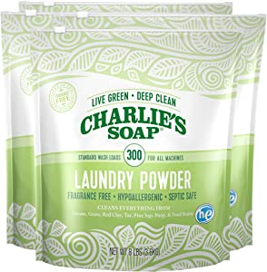 Charlie's Soap Laundry Powder (300 Loads, 4 Pack) Hypoallergenic Deep Cleaning Washing Powder Detergent – Eco-Friendly, Safe, and Effective