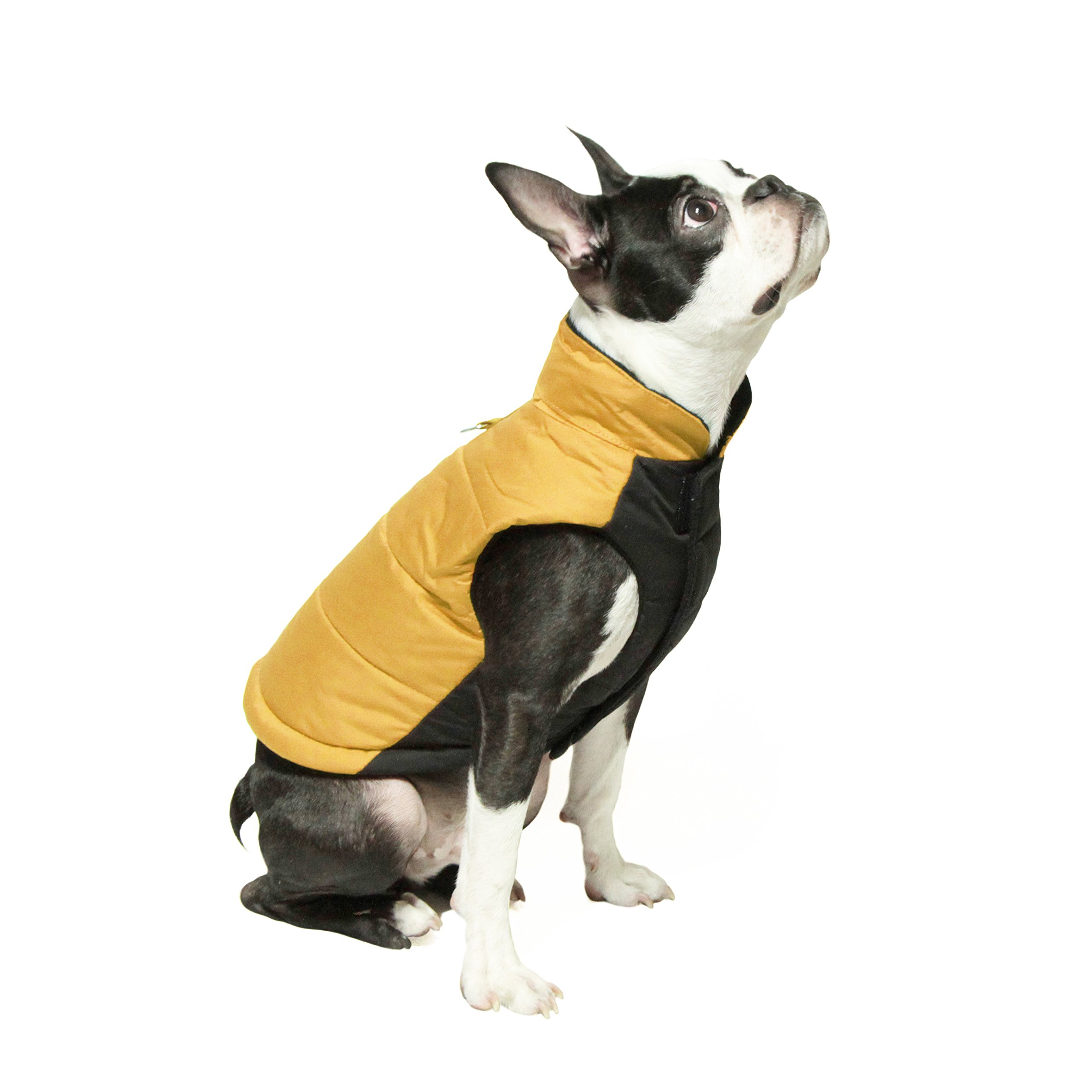 Gooby - Wind Parka, Fleece Lined Small Dog Jacket Coat Sweater with Water Resistant Shell and Leash Ring, Yellow, X-Small by Gooby